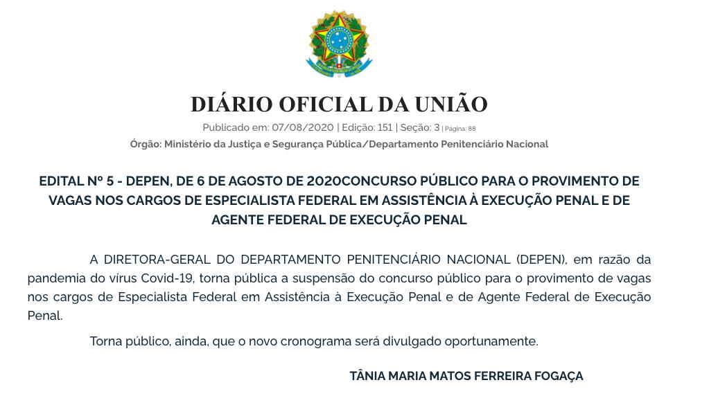Publicação do DOU oficializando a decisão de suspender o concurso DEPEN 2020.